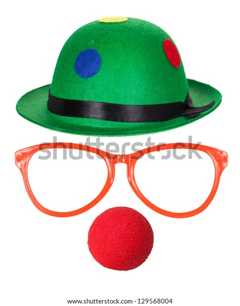 Clown hat with glasses and red nose isolated on white background