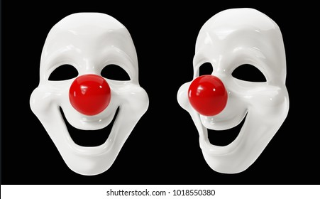 Clown Masks isolated on Black Background. 3D illustration