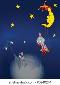 The clown, the moon and a cat