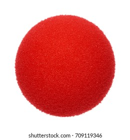 Clown nose on white background