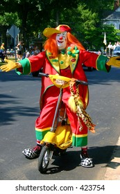 clown on scooter