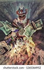 Clown party. Money.