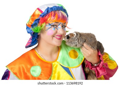 Clown with raccoon on the white background