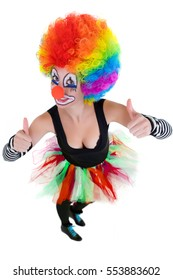Clown is showing ok sign with her fingers isolated on a white background