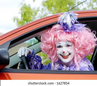 Clown Sticking her Head Out the Car Window