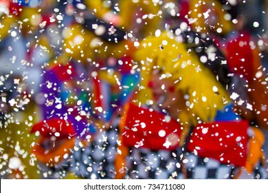 clown through confetti