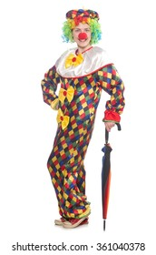 Clown with umbrella isolated on white