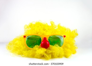 Clown Wig and Glasses.