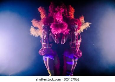 Clowns Girls. Carnival. Halloween.Circus