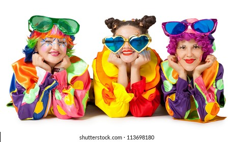 Clowns are making fun on white background