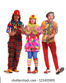 Clowns on a white background