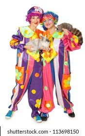 Clowns with rabbit and raccoon on white background