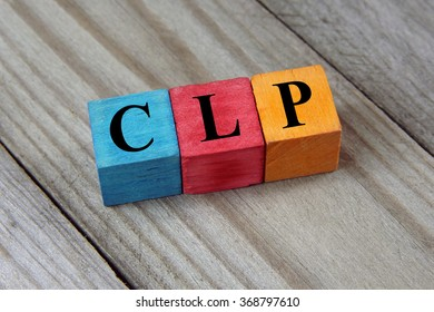 CLP (Chilean Peso) sign on colorful wooden cubes