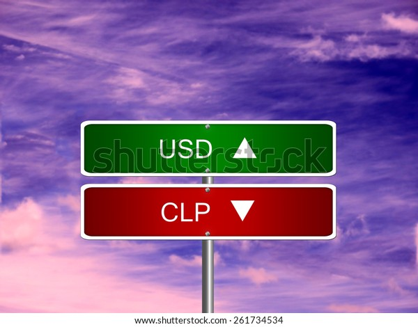 Clp Usd Chile Chilean Peso Us Business Finance Stock Image 261734534
