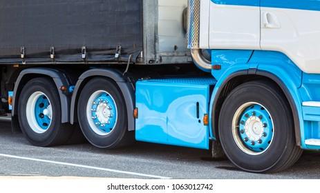 Clsoe-up of a modern marine blue truck