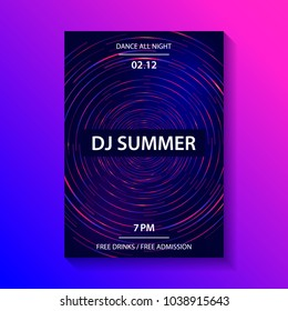 Club music party poster, dance party flyer, brochure, cover. Dj mixing vinyl disc. Dark blue background.