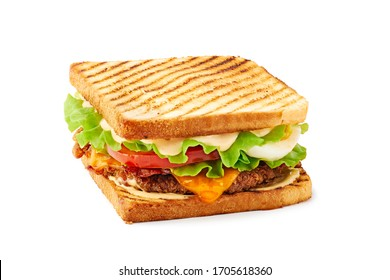 Club sandwich with chicken, egg and cheese on white