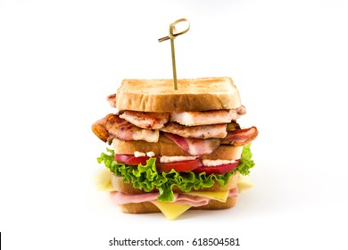 Club sandwich isolated on white background.