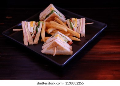 club sandwich on wooden background