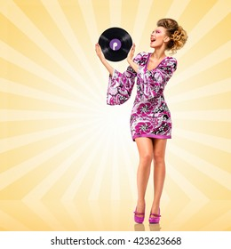 Clubbing hippie homemaker holding a retro vinyl record on cartoon style background.