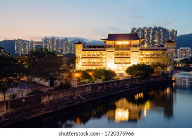 CLUBONE RIVIERA,HONG KONG - May 3: The ClubONE Riviera in Shatin Hong Kong on May 3, 2020. This Chinese restaurant was built with granite taking on the shape of a ship berthing along the shore.