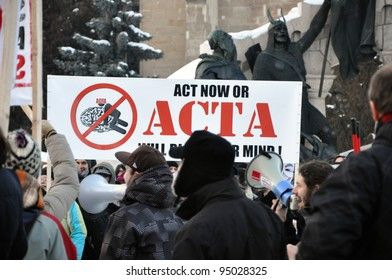 CLUJ NAPOCA – FEBRUARY 11: Hundreds of people protest against ACTA, against web piracy treaty, and against government in Cluj Napoca, on February 11, 2012 in Cluj Napoca, Romania