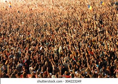 CLUJ NAPOCA, ROMANIA - AUGUST 2, 2015: Dj David Guetta performs a live show at the Untold Festival in