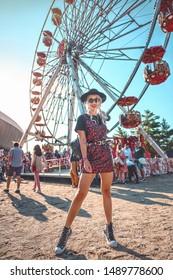 Cluj Napoca, Romania, August 2019: Beautiful woman enjoying Untold Festival