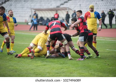 CLUJ NAPOCA, ROMANIA - FEBRUARY 10, 2018: Players of the National Team of Romania playing rugby against Germany during a World Cup Qualifiers match in Cluj Arena