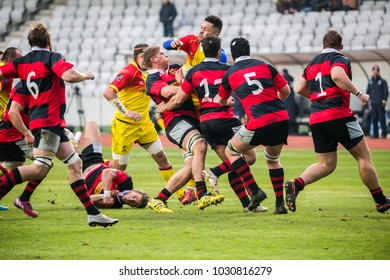CLUJ NAPOCA, ROMANIA - FEBRUARY 10, 2018: The national Romanian team of rugby playing against Germany in Cluj Arena with Romanian victory at the European Rugby Championship.