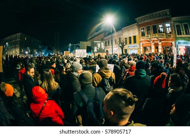 CLUJ NAPOCA, ROMANIA - FEBRUARY 3, 2017: People protesting against corruption. Protesters went to the streets in the whole country to demand the government's resignation.