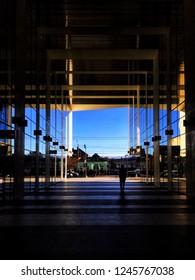 Cluj Napoca, Romania - January 19, 2017: Modern office building and clear blue sky in Cluj Napoca, Romania