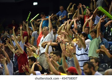 CLUJ NAPOCA, ROMANIA - JULY 16, 2016: Crowd of cheering people and fans enjoying a Davis Cup match by BNP Paribas Romania vs Spain