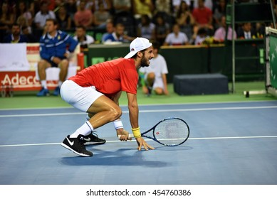 CLUJ NAPOCA, ROMANIA - JULY 16, 2016: Spanish tennis player Feliciano Lopez playing during a match Davis Cup by BNP Paribas match Romania vs Spain
