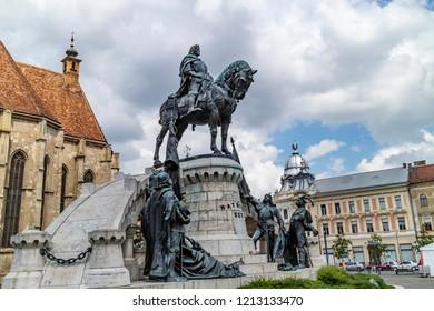 Cluj Napoca, Romania - July 27, 2018: The statue of Matthias Corvinus in the union square in Cluj Napoca, Romania