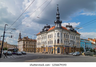 Cluj Napoca, Romania - July 27, 2018: A typical street view in the center of Cluj Napica, Romania