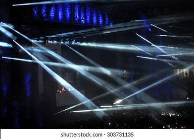 CLUJ NAPOCA, ROMANIA - JULY 31, 2015: Stage lights during an Avicii live concert at the Untold Festival
