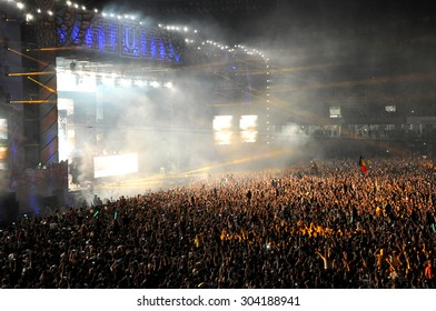CLUJ NAPOCA, ROMANIA - JULY 31, 2015: Swedish Dj Avicii performs a live concert at the Untold Festival in the European Youth Capital city of Cluj Napoca