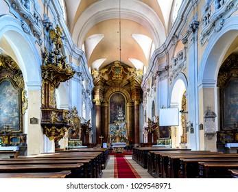 CLUJ NAPOCA, ROMANIA - JUNE 1, 2017:  Interior of the St. Michael's Church, a Gothic-style Roman Catholic church in Cluj-Napoca, Romania