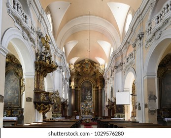 CLUJ NAPOCA, ROMANIA - JUNE 1, 2017:  Interior of the St. Michael's Church, a Gothic-style Roman Catholic church in Cluj-Napoca, Romania