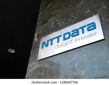 CLUJ NAPOCA, ROMANIA - MAY 1, 2018: NTT Data Romania sign outside its headquarters in Cluj Napoca.
