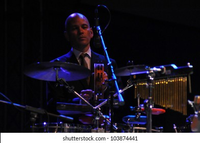 CLUJ NAPOCA, ROMANIA � MAY 29: Drummer Timothy Nishimoto from Pink Martini pop-jazz band  live at the Sports Hall of Cluj, Romania, MAY 29, 2012 in Cluj-Napoca, Romania