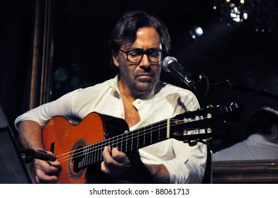 CLUJ NAPOCA, ROMANIA – NOVEMBER 1: Jazz-fusion guitarist legend, Al di Meola and New World Sinfonia performs live at Cluj National Theater of Cluj, Romania, November 1, 2011 in Cluj-Napoca, Romania