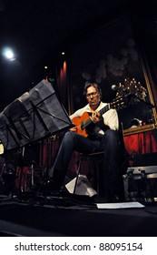 CLUJ NAPOCA, ROMANIA – NOVEMBER 1: Jazz-fusion guitarist legend, Al di Meola and New World Sinfonia perform live at Diesel Club, Cluj Napoca, Romania, November 1, 2011 in Cluj-Napoca, Romania