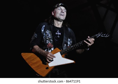 CLUJ NAPOCA, ROMANIA – OCTOBER 8: Matthias Jabs guitarist from Scorpions rock band performs live at Cluj Arena Grand Opening concert on October 8, 2011 in Cluj-Napoca, Romania