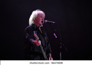 CLUJ NAPOCA, ROMANIA – OCTOBER 9: Terry Uttley from The Smokie pop-rock band performs live at Cluj Arena Grand Opening concert on October 9, 2011 in Cluj-Napoca, Romania