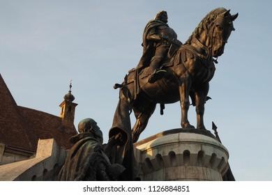 Cluj Napoca, Romania-19Th April,2018: The Matthias Corvinus Monument in the main square of Cluj Napoca