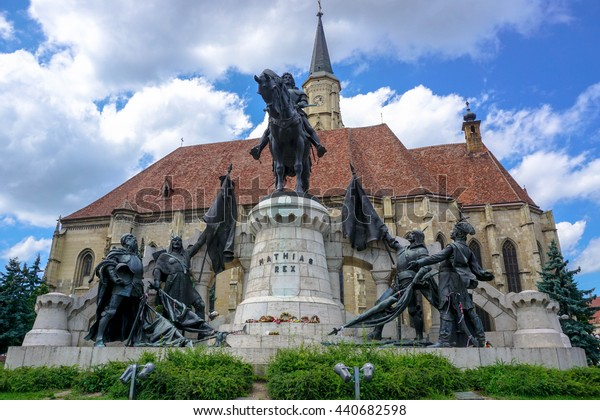 Cluj Napoca - Statue of Mathias Rex (Matyas Kiraly or Matei Corvin), and the medieval gothic Saint Michael Church