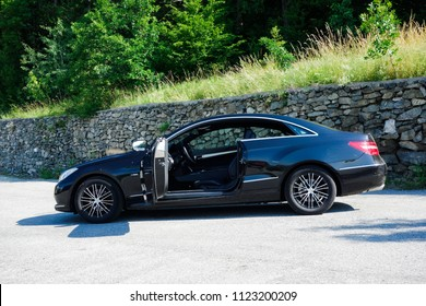 Cluj Napoca/Romania - June 20, 2018: Mercedes Benz W207 Coupe - year 2011, Avantgarde equipment, black anthracite leather interior, E class, open door, Sport edition, Aluminium trims, inside view