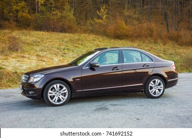 Cluj Napoca/Romania - Octomber 20, 2017: Mercedes Benz W204- year 2011, Avantgarde equipment, brown luxury leather interior, panoramic sunroof, memory seats, Xenon lights, Aluminium trims